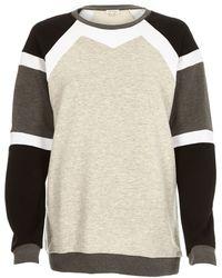 River Island Grey Colour Block Sweatshirt - Lyst