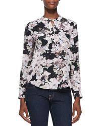 Rebecca Taylor Floral-print Double-pocket Blouse - Lyst