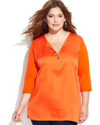 Vince Camuto Plus Size Three Quarter Sleeve Mixed Media Top - Lyst