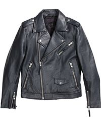 H&M Leather Biker Jacket blue - Lyst