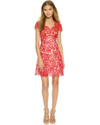 Notte by Marchesa Cap Sleeve Dress - Red red - Lyst