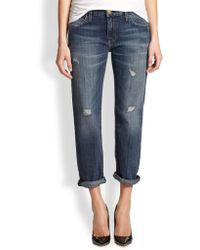 Current/Elliott Cropped Boyfriend Jeans - Lyst