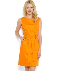 Ellen Tracy Orange Boatneck Belted Dress - Lyst