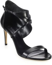 Casadei Asymmetrical Ankle-Cuff Leather Sandals - Lyst