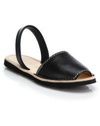 Prada Flat Leather Slingback Sandals black - Lyst