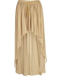 River Island Gold Dip Hem Maxi Skirt - Lyst
