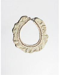 Pixie Market Disco Twisted Collar beige - Lyst