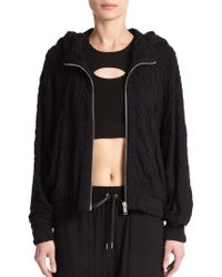 Helmut Lang Undulate Zip-Front Hooded Sweatshirt - Lyst