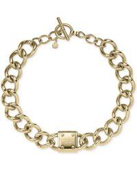 Michael Kors Goldtone Logo Plaque Chain Toggle Necklace - Lyst