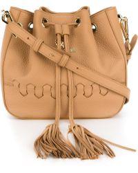 Roberto Cavalli 'regina' Bucket Crossbody Bag - Natural