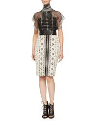 Byron Lars Beauty Mark - Short-Sleeve Mixed Pattern Dress - Lyst