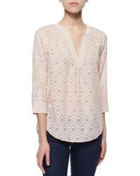 Rebecca Taylor Mosaic-Pattern Silk Blouse - Lyst