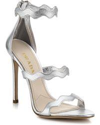 Prada Scalloped Metallic Leather Sandals - Lyst