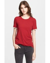 Burberry Brit Check Trim Tee red - Lyst