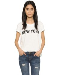 Textile Elizabeth and James | New York Bowery Tee - White/black | Lyst