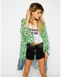 Asos Longline Kimono in Floral with Fringing - Lyst