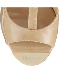 Jimmy Choo Pela Nude Patent Leather Wedge Sandals - Natural