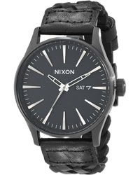 Nixon The Sentry Leather black - Lyst