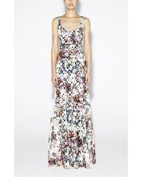 Nicole Miller Printed Venice Lace Gown - Lyst