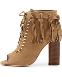 Cynthia Vincent - Nailed Fringe Open Toe Booties - Tan - Lyst