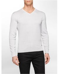 Calvin Klein White Label Premium V-Neck Silk Cotton Blend Sweater gray - Lyst