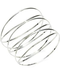 Panacea Silvertone Wire Bangle - Metallic