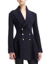 Alexander McQueen Knit Ribbed-detail Shawl-collar Sweater Coat - Lyst