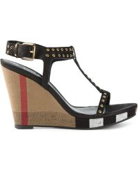 Burberry Studded Check Wedge Sandals - Lyst