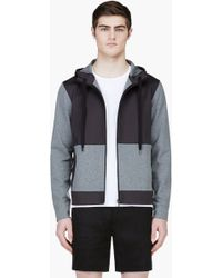 Calvin Klein Heathered Grey and Black Hooded Sweater - Lyst