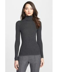 St. John - Cable Knit Turtleneck Sweater - Lyst