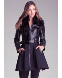 Bebe Shiny Coated Trench Coat - Lyst