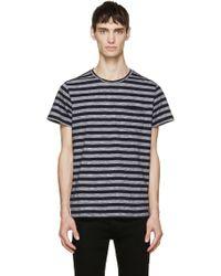 A.P.C. Navy Slub Stripe T_Shirt blue - Lyst