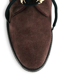 Burberry Watkins Suede Lace-up Wedge Boots - Brown