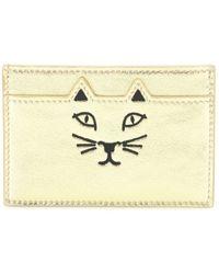 Charlotte Olympia Feline Metallic Leather Card Holder - Lyst