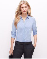 Ann Taylor Stripe Perfect Shirt - Lyst