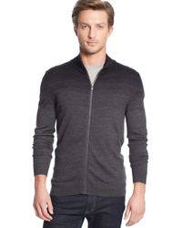 Calvin Klein Ombre Parallel Striped Full-zip Sweater - Lyst