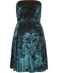 Topshop Velvet Bandeau Flippy Dress - Lyst