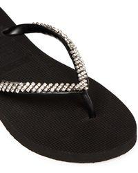 Uzurii 'classic' Crystal Flip Flops - Black