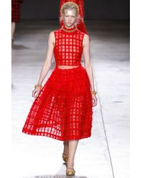 Simone Rocha Mohair Check Flared Skirt - Lyst