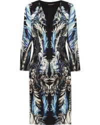 Roberto Cavalli Lace Paneled Printed Stretch Jersey Dress - Lyst