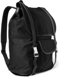 A.P.C. Leather-trimmed Cotton-blend Backpack - Lyst
