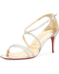 Christian Louboutin Gwinee Strappy Glitter Red Sole Sandal - Lyst
