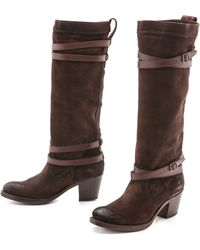 Frye Jane Strappy Boots  Brown - Lyst