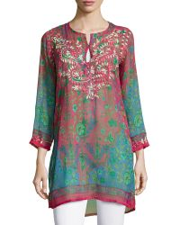 Raj | Embroidered Floral Kaftan Tunic | Lyst