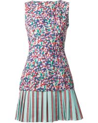 SUNO Floral Print Pleated Skirt Dress - Multicolour