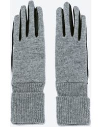 Zara Faux Leather Combined Long Gloves - Lyst