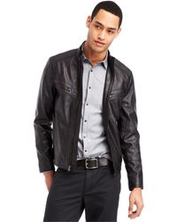 Kenneth Cole Reaction Faux-Leather Moto Jacket - Lyst