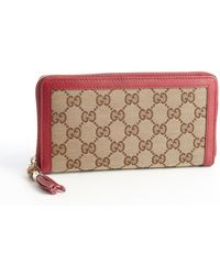 Gucci Red Gg Canvas Bamboo Tassel Continental Zip Wallet - Lyst