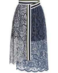Preen Lace Amara Skirt in Navy and White - Lyst