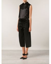 Alberta Ferretti Satin Tie Neck Top - Lyst